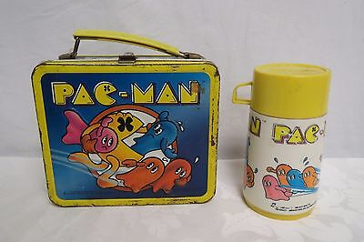 Vintage 1980 Pacman Tin Lunch Box With Thermos