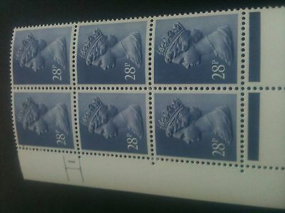 GB~QE11~MNH~Cylinder Block 1 N0 dot [6]~28p Deep Bluish Grey ~PACP PVAD Gum~NEW