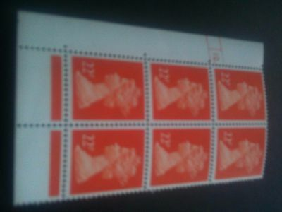 GB~QE11~MNH~Cylinder Block 10 dot [6]~ 22p Bright Orange Red P/ACP PVAD Gum~NEW