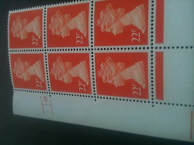 GB~QE11~MNH~Cylinder Block [6]~ 22p Bright Orange Red P/ACP PVAD Gum~NEW ITEM