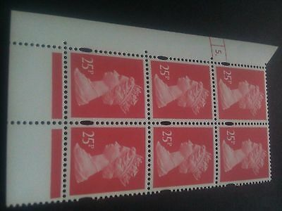 GB~QE11~MNH~Cylinder Block 5 Dot [6]~25p Rose Red~PNFCP PVAD Gum~NEW