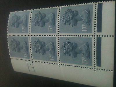 GB~QE11~MNH~Cylinder Block 7No Dot [6]~17p Grey Blue~PFCP PVAD Gum~NEW
