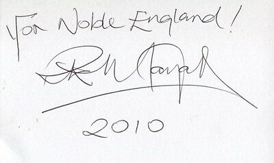 Rik Mayall signed card with 'For Noble England' quote!