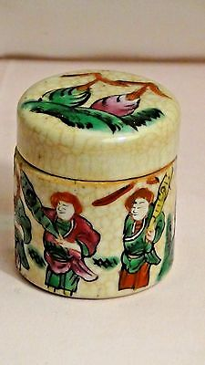 Antique Chinese Covered Ceramic Cracle Glaze Painted Wappior Scene Ink Bottle