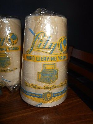 Lot Of 3  Lily Hand Weaving Yarns  20/3 Blue Tip  Cone  1 Lb. Belding Lily Co.