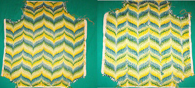 Pair Green Yellow Green & Teal Blue Zig zag Needlepoint Fabric Cushion Project