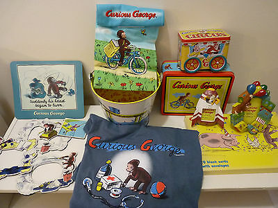 Curious George Lot - tshirt-frames-magnets-mousepad-bucket- cards-lunch box- bag