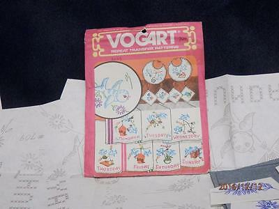 Vogart - #709 - Repeat Transfer Pattern - Days Of The Week - Towels Pillow Cases
