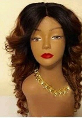 10A Handmade 100% brazilian Virgin ombre Human Hair wig 1B/33 with Lace closure