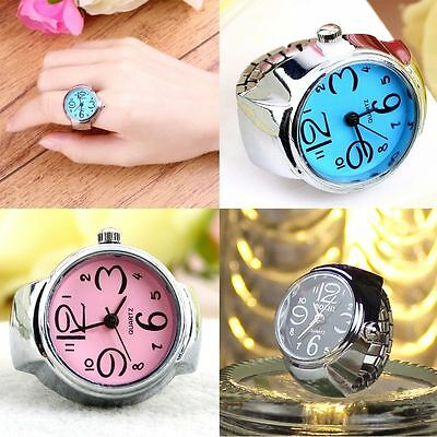 Gift Round Fashion Quartz Finger Ring Watch Stainless Steel Elastic