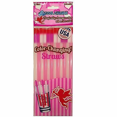 Color Changing Drinking Straws Reusable Parties Valentine's Gift Magic
