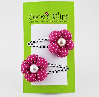 Pink Polka Dot Puffy Fabric Flower White Bead Center Handmade Hair Clip
