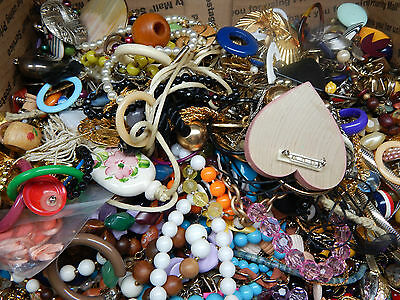 HUGE 16 LB + UNSORTED Tangled Jewelry Lot Old New Wear Repair Harvest Rework WOW