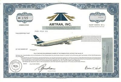 Amtran   1984 Indiana old stock certificate share