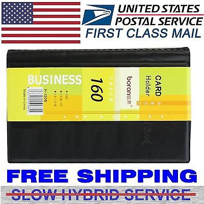 Leather 160 Cards Business Name ID Credit Card Holder Book Case Keeper Organizer
