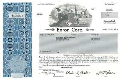 Enron Corp   2003 Oregon old stock certificate share