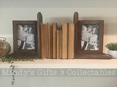 Pair of Antique Style Solid Wood Photo Frame Book Ends Bookends Ornament