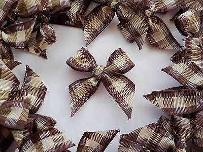 100! Lovely Gingham Check Bows - Shaker Style Brown & Cream Bow Embellishments!