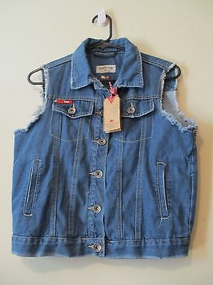 NWT Lee Cooper Womens Blue Denim Sleeveless Distressed Fitted Vest Size 14