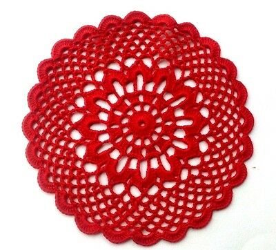 Hand Crocheted Doily Red, small doily