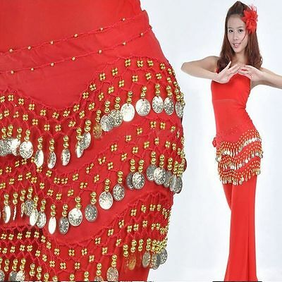 Wrap New Hip Dancing Rows Coins Chiffon Row Silver Scarf Belt Belly Dance