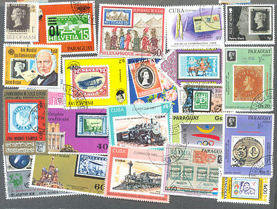 Stamps on Stamps 300 all different stamps collection(a few guides)