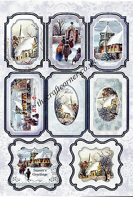 Christmas Village Die Cut Toppers Card Sheet Card Making Paper Craft NO CUTTING
