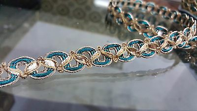 1.5cm- 1 meter high quality Beautiful turquoise and gold lace trimming braid