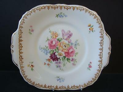 Crown Staffordshire China Englands Bouquet Twin Handle Cake Bread / Butter Plate