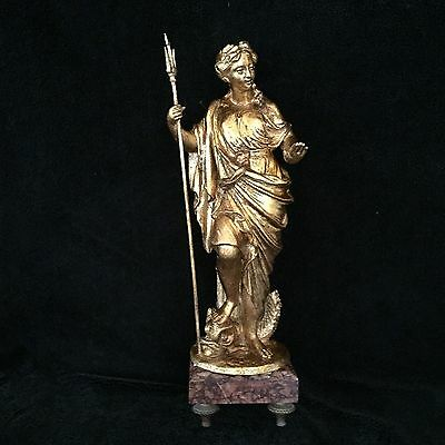 SPELTER GOLD GILDED STATUE OF THE LADY ON MARBLE BASE , 38 cm HEIGHT