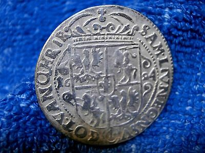 Poland:  Silver Ort 1624 Hand Hammered Coin!! Very Fine++++!!!