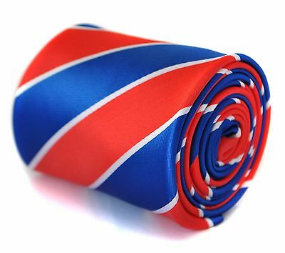 Frederick Thomas Blue Red and White Barber Stripe Mens Tie RRP £19.99 FT2063