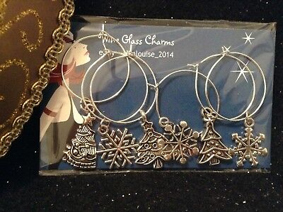 Wine Glass Charm - Set of 6 - Snowflakes and Christmas Trees