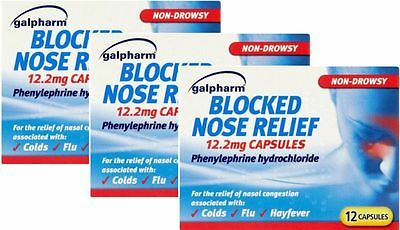Galpharm Blocked Nose Relief 12.2mg Capsules 12 Pack X3 TRIPLE PACK-Colds,Flu