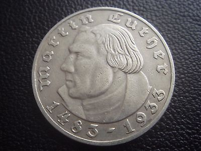 Germany Third Reich Martin Luther Silver Coin 2 MARK Reichsmark 1933 A (18)