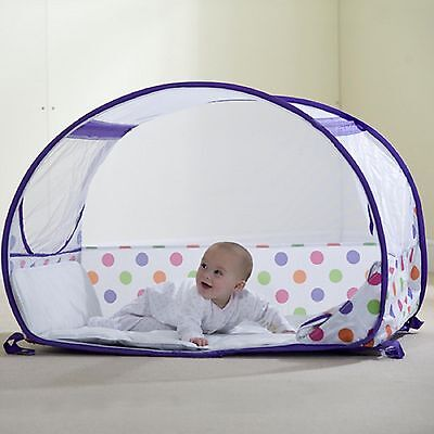 Koo-Di Pop Up Baby Travel Bubble Cot Purple Polka Dot For Babies 6-18 Months