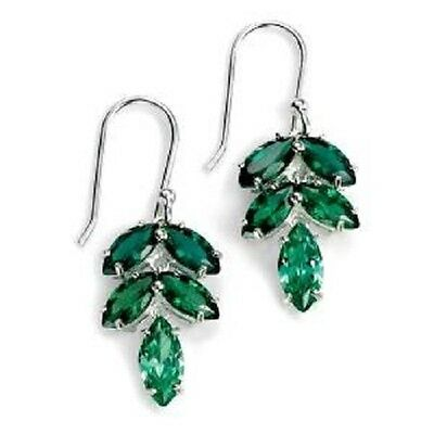 Sterling Silver Green Cubic Zirconia Leaf Earrings E4773G