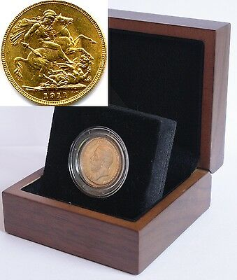 1928 King George V Gold Sovereign + Capsulated within Luxury Case