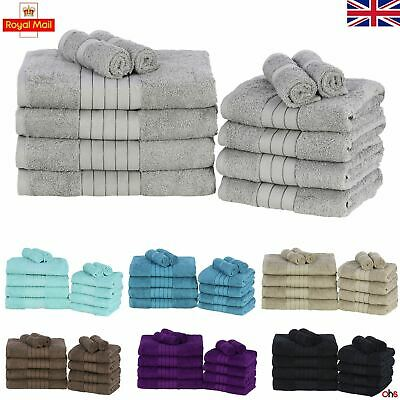 Dreamscene Luxury 100% Cotton Towels Bale Set Large Soft Bath Hand 12 PC 500 GSM