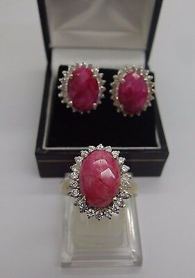 Handcrafted 925 Sterling Silver earrings ring set Natural Ruby Size R UK 8.5 U