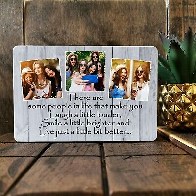 """6x4"""" Personalised Wooden Photos Quote Block Friendship Best Friend Present Gift"""