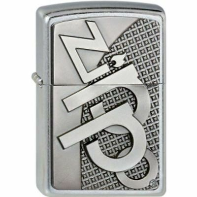 Genuine Zippo Windproof Refillable Petrol Lighter with 3D Logo Emblem - Chrome