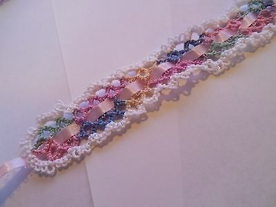 Tatted Pastel & White Lace Ribbon Bookmark Gift Dove Country Tatting