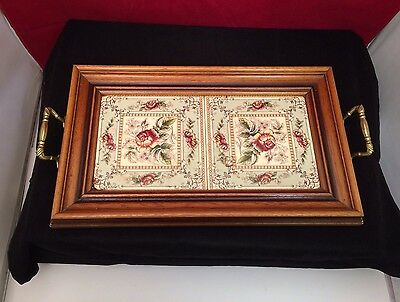 Beautiful floral tiled vintage serving tray.