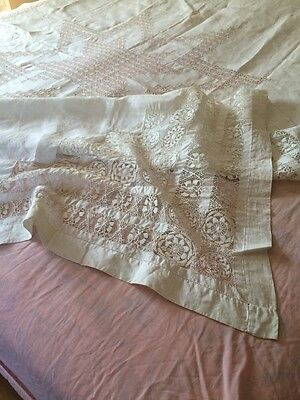 """Stunning! Antique White Linen Drawn Thread Work Tablecloth Bed Coverlet 72x98"""""""