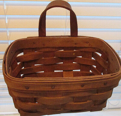 Longaberger small key basket with leather loop 1985
