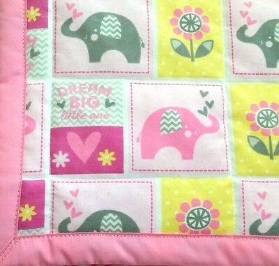 "HANDMADE, ""DREAM BIG"", 35x43in, GIRLS, PINK FLANNEL BABY/TODDLER QUILTED BLANKET"