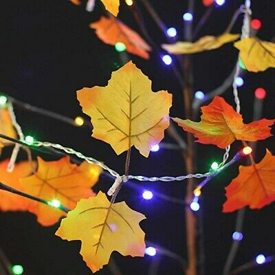"""80"""" Fall Leaves Light String Thanksgiving Halloween Autumn Fall Color Foliage"""