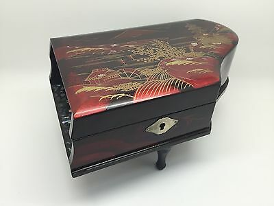 Vintage Japanese Lacquer Grand Piano Inlaid Music Box, Blue Danube Waltz (RF510)