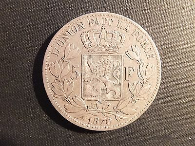 1870 Belgium Leopold Ii Five 5 Francs Silver Coin (5890)